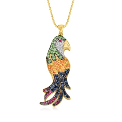 3.00 ct. t.w. Multi-Gemstone Parakeet Pendant Necklace in 18kt Gold Over Sterling
