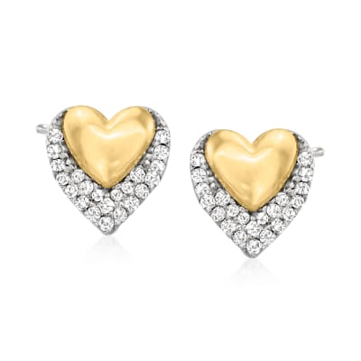 .10 ct. t.w. Diamond Double-Heart Stud Earrings in Sterling Silver and 14kt Yellow Gold