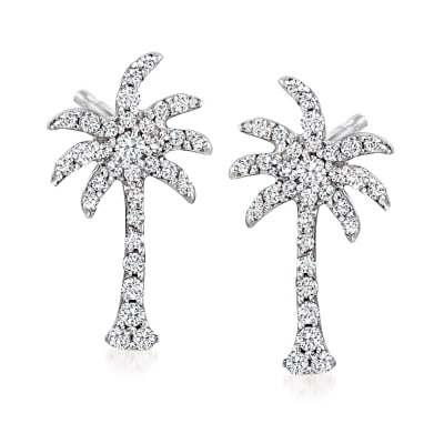 .19 ct. t.w. Diamond Palm Tree Earrings in Sterling Silver