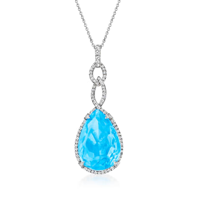 25.00 Carat Swiss Blue Topaz and .95 ct. t.w. Diamond Pendant Necklace in 14kt White Gold