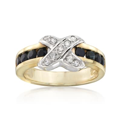 C. 1980 Vintage .60 ct. t.w. Sapphire and .20 ct. t.w. Diamond X Ring in 18kt Yellow Gold