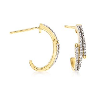 .15 ct. t.w. Diamond Zigzag J-Hoop Earrings in 18kt Gold Over Sterling
