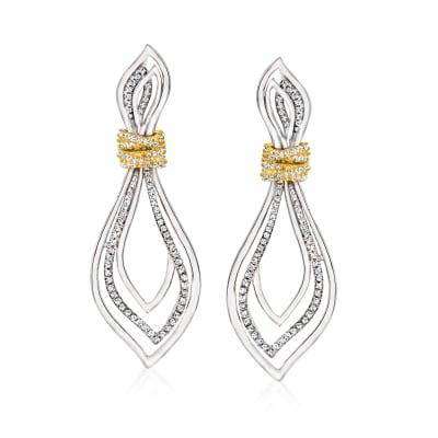 1.00 ct. t.w. Diamond Teardrop Earrings in Two-Tone Sterling Silver