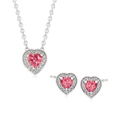 .80 ct. t.w. Pink Tourmaline and .70 ct. t.w. White Topaz Jewelry Set: Heart Earrings and Necklace in Sterling Silver
