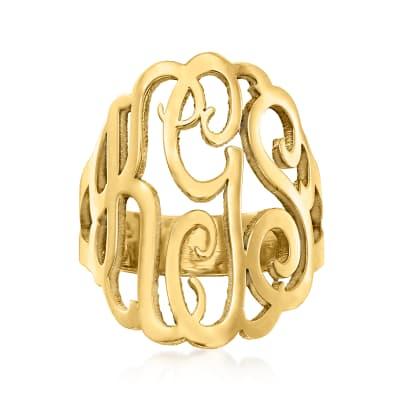 24kt Gold Over Sterling Silver Open Script Monogram Ring