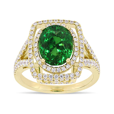 5.00 Carat Tsavorite Ring with .89 ct. t.w. Diamonds in 14kt Yellow Gold