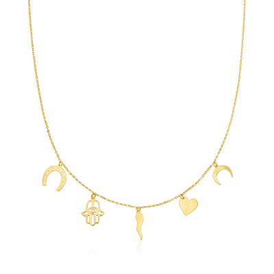 Italian 14kt Yellow Gold Lucky Charm Necklace