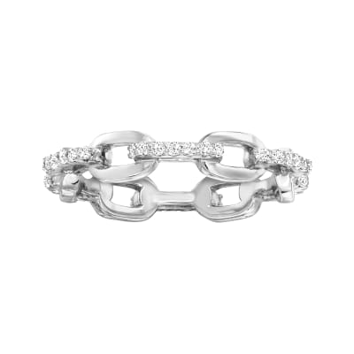 .30 ct. t.w. CZ Paper Clip Link Ring in Sterling Silver
