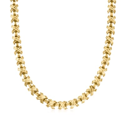 C. 1990 Vintage Tiffany Jewelry 18kt Yellow Gold X Necklace