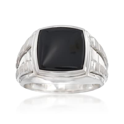 Men's Black Onyx Ring in Sterling Silver