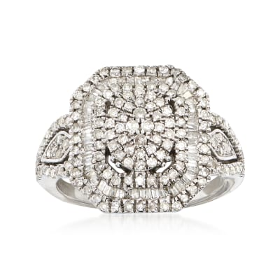 1.00 ct. t.w. Round and Baguette Diamond Multi-Level Ring in Sterling Silver