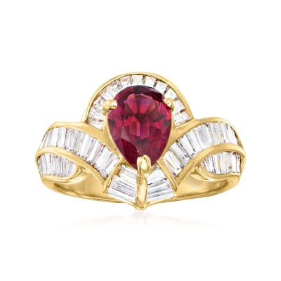 C. 1980 Vintage 1.10 Carat Pink Tourmaline Ring with 1.10 ct. t.w. Diamonds in 18kt Yellow Gold