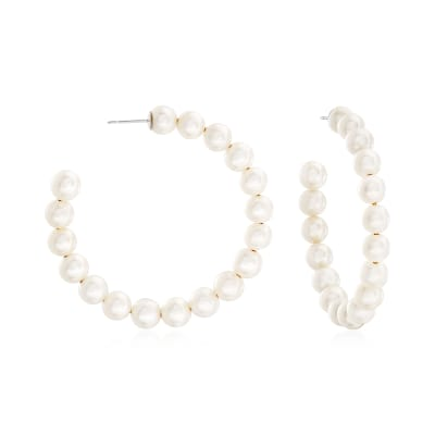 6-7mm Cultured Pearl Hoop Earrings in Sterling Silver