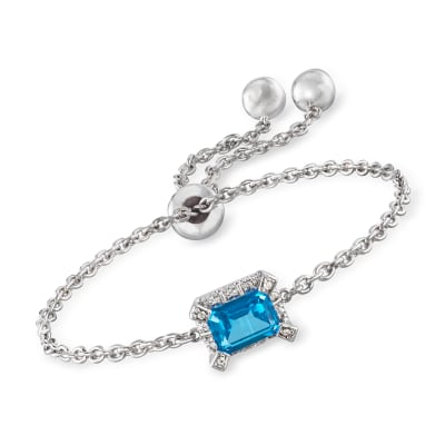 1.66 ct. t.w. Blue and White Swarovski Topaz Bolo Bracelet in Sterling Silver
