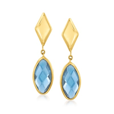 Italian .40 ct. t.w. London Blue Topaz Drop Earrings in 14kt Yellow Gold
