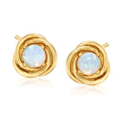 Opal Love Knot Stud Earrings in 18kt Gold Over Sterling