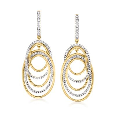 1.00 ct. t.w. Pave Diamond Oval-Link Drop Earrings