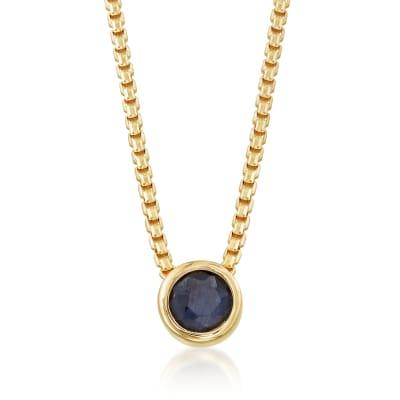 .50 Carat Bezel-Set Sapphire Adjustable Necklace in 18kt Gold Over Sterling
