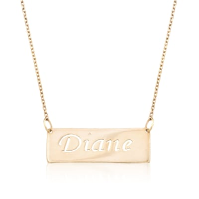 24kt Gold Over Sterling Silver Openwork Name Bar Necklace