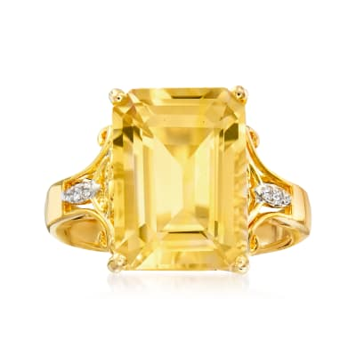 7.35 Carat Citrine Ring with White Topaz Accents in 18kt Gold Over Sterling