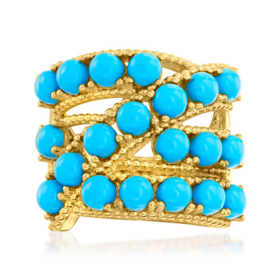 Turquoise Highway Ring in 18kt Gold Over Sterling