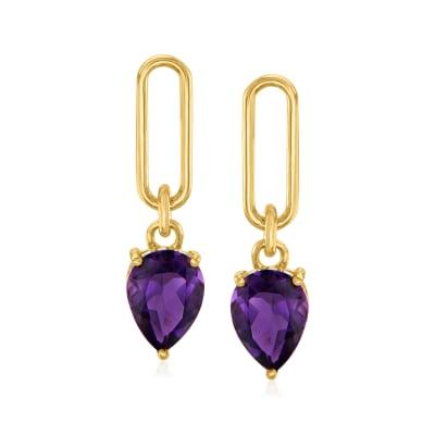 2.00 ct. t.w. Amethyst Drop Earrings in 18kt Gold Over Sterling