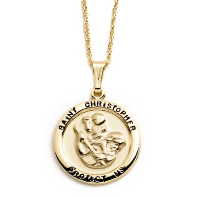 14kt Yellow Gold Saint Christopher Medal Pendant Necklace