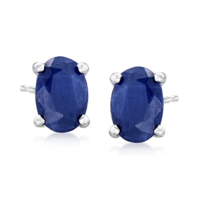 1.30 ct. t.w. Oval Sapphire Stud Earrings in 14kt White Gold