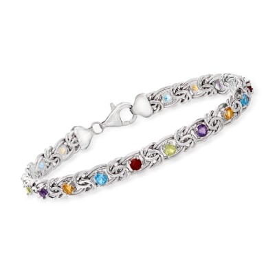 3.00 ct. t.w. Multi-Gemstone Byzantine Bracelet in Sterling Silver
