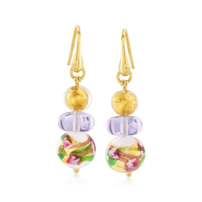 Italian Multicolored Murano Glass Bead Earrings in 18kt Gold Over Sterling