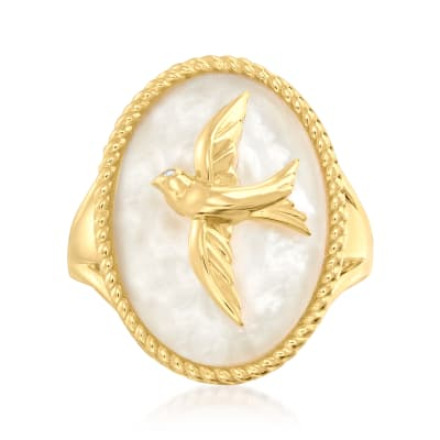 Mother-Of-Pearl Dove Ring in 18kt Gold Over Sterling with Diamond Accent