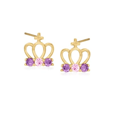 Child's .30 ct. t.w. Pink and Lavender CZ Crown Earrings in 14kt Yellow Gold
