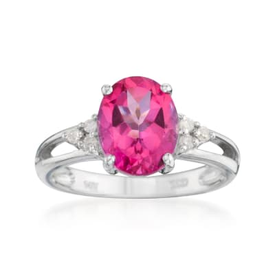 2.50 Carat Pink Topaz Ring with Diamond Accents in 14kt White Gold