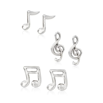 Sterling Silver Jewelry Set: Three Pairs of Musical Note Stud Earrings
