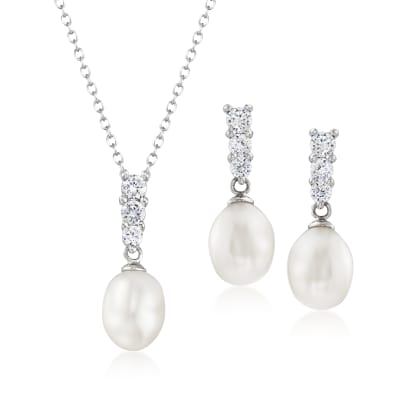7-8mm Cultured Pearl and .30 ct. t.w. CZ Jewelry Set: Drop Earrings and Pendant Necklace in Sterling Silver