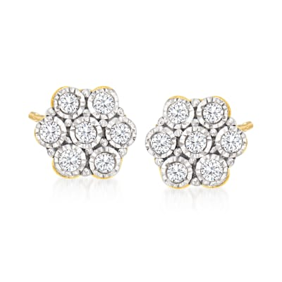 .10 ct. t.w. Diamond Flower Stud Earrings in 14kt Yellow Gold
