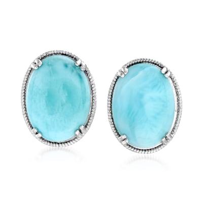 Larimar Filigree Stud Earrings in Sterling Silver