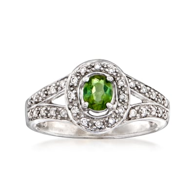 C. 1990 Vintage .35 Carat Green Andalusite and .25 ct. t.w. Diamond Ring in 14kt White Gold