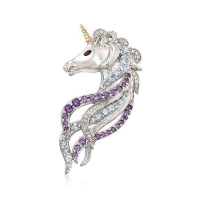 1.30 ct. t.w. Multi-Stone Unicorn Pin Pendant in Sterling Silver and 14kt Gold