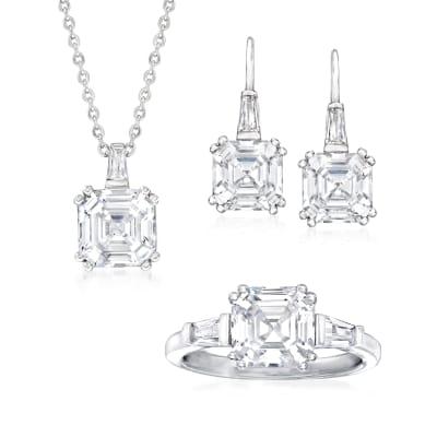 10.64 ct. t.w. CZ Jewelry Set: Pendant Necklace, Drop Earrings and Ring in Sterling Silver