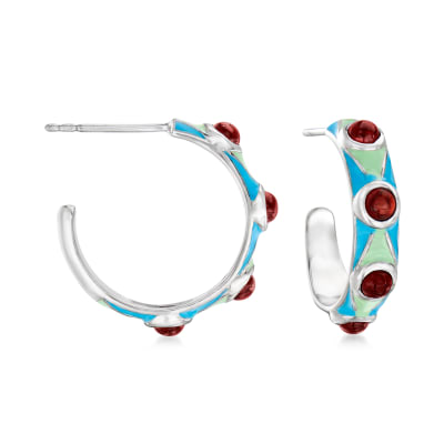 1.10 ct. t.w. Garnet Hoop Earrings with Blue and Green Enamel in Sterling Silver