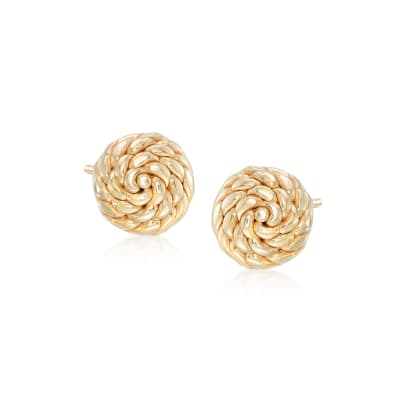 Italian 14kt Yellow Gold Roped Knot Stud Earrings