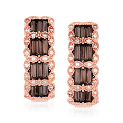 3.50 ct. t.w. Brown and White CZ Earrings in 18kt Rose Gold Over Sterling