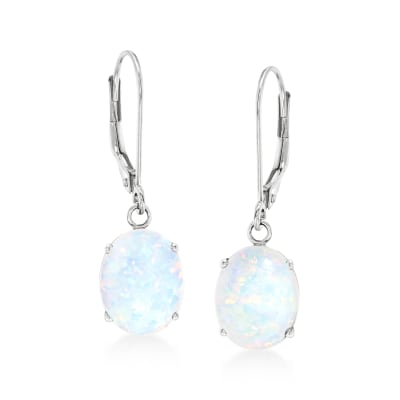 Simulated Opal Drop Earrings in 14kt White Gold