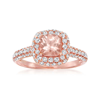 .80 Carat Morganite Ring with 1.60 ct. t.w. White Zircon in 18kt Rose Gold Over Sterling