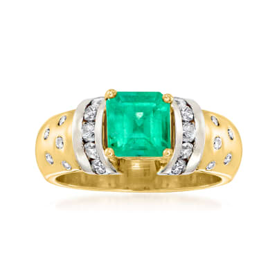 C. 1980 Vintage 1.15 Carat Emerald Ring with .60 ct. t.w. Diamonds in 14kt Yellow Gold