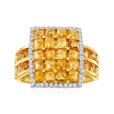 4.10 ct. t.w. Citrine Square-Top Ring with .30 ct. t.w. White Zircon in 18kt Gold Over Sterling