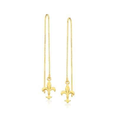 Italian 18kt Gold Over Sterling Fleur-De-Lis Threader Drop Earrings