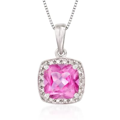 1.00 Carat Pink Topaz Necklace with Diamonds in 14kt White Gold