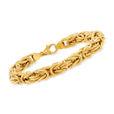 Italian 14kt Yellow Gold Square Byzantine Bracelet